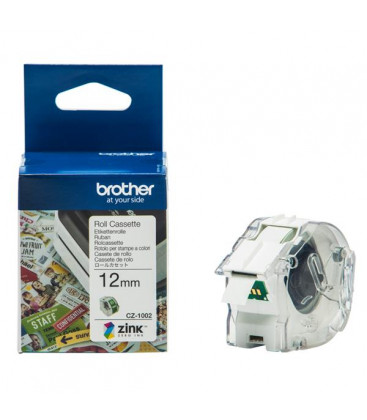 Genuine Brother CZ1002 White on Green Continuous Label Roll Cassette