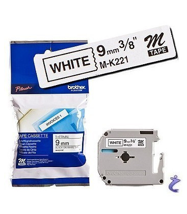 Genuine Brother MK-221BZ Black on White Tape