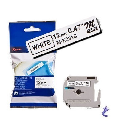 Genuine Brother MK-231BZ Black on White Tape