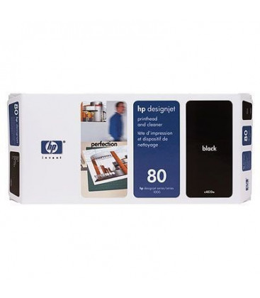 Genuine HP 80 C4820A Black Printhead + Cleaner