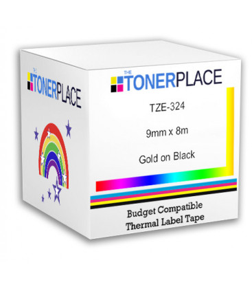Budget Compatible Brother P-Touch TZe-324 Gold on Black Tape 9mm x 8m