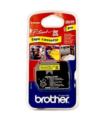 Genuine Brother MK-631BZ Black on Yellow Tape